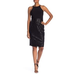 MARINA | Size 10 Black Sequin Accent Halter Dress